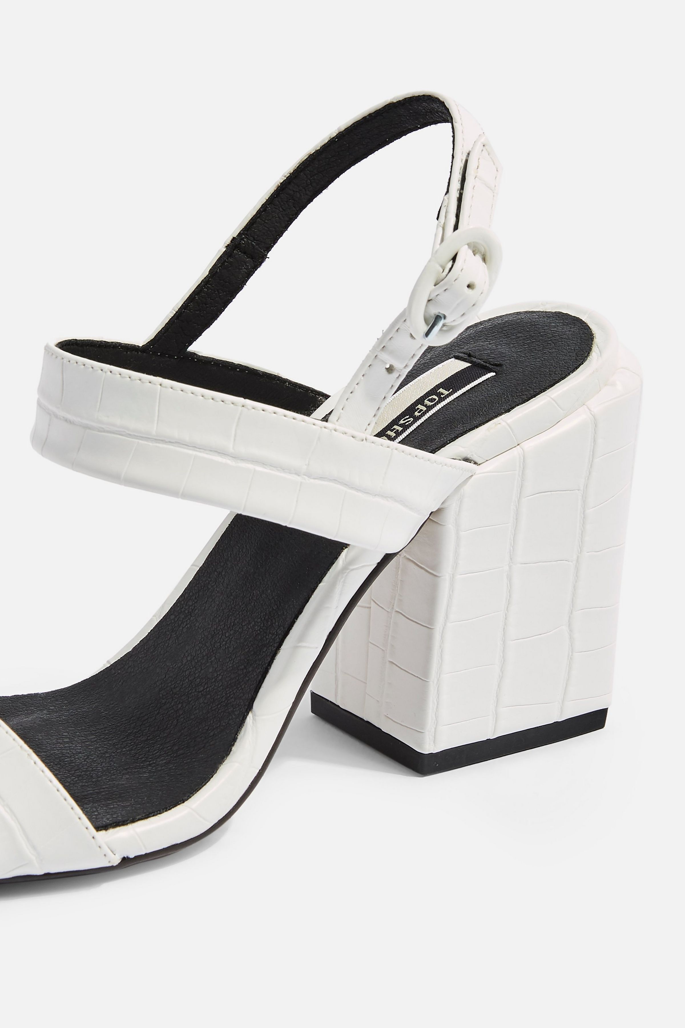 ROXIE Vegan White Block Heels £59. Source: Topshop.com