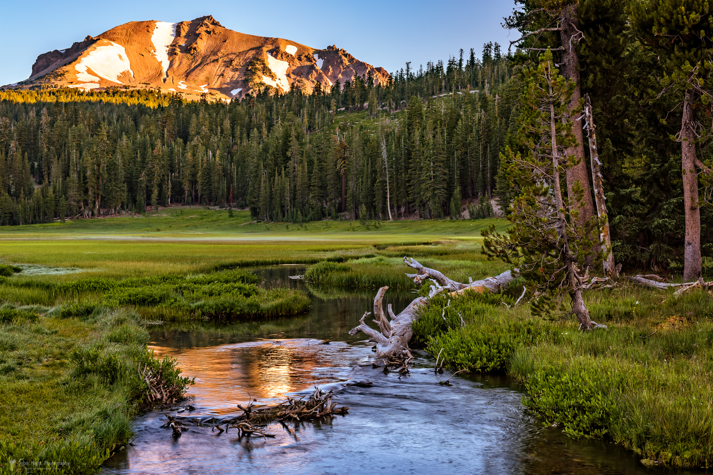 First Light on Lassen from Upper Meadow