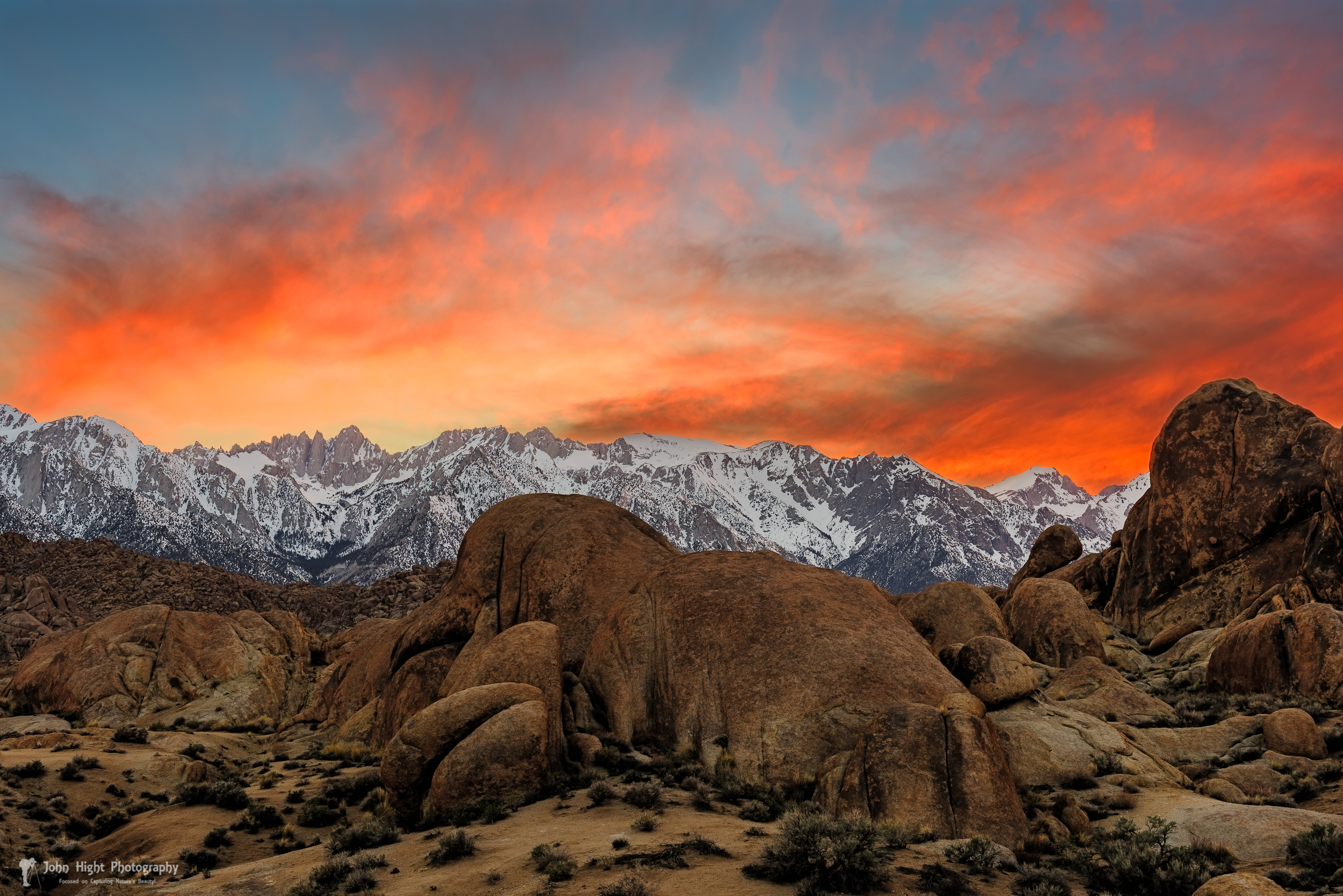 Red Sky at Alabama Hills, Lone PIne, CA