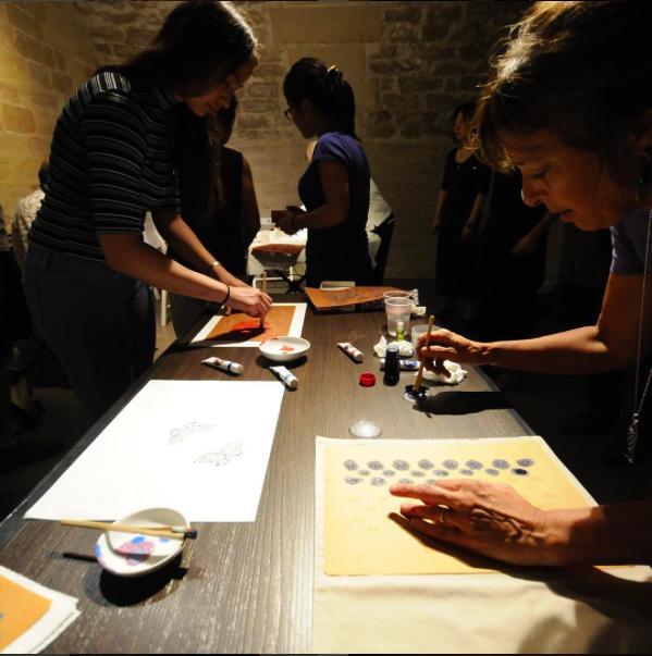 """A """"Katagami """" workshop in Paris 3 at TBJ Design a Japanese Designer Office"""