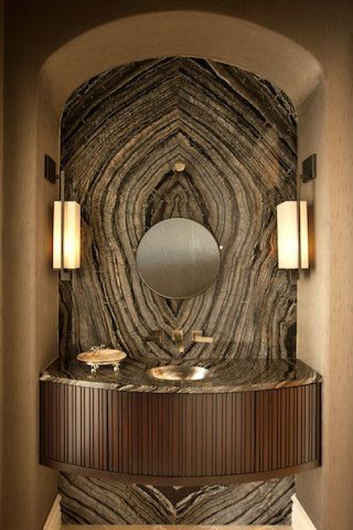 Powder room - bookmatched | Renée Gaddis Interiors