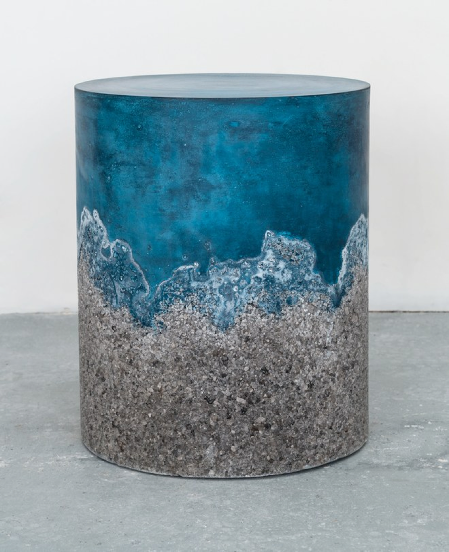 -	Mixed material of rock and Himalayan salt drum table by AMMA