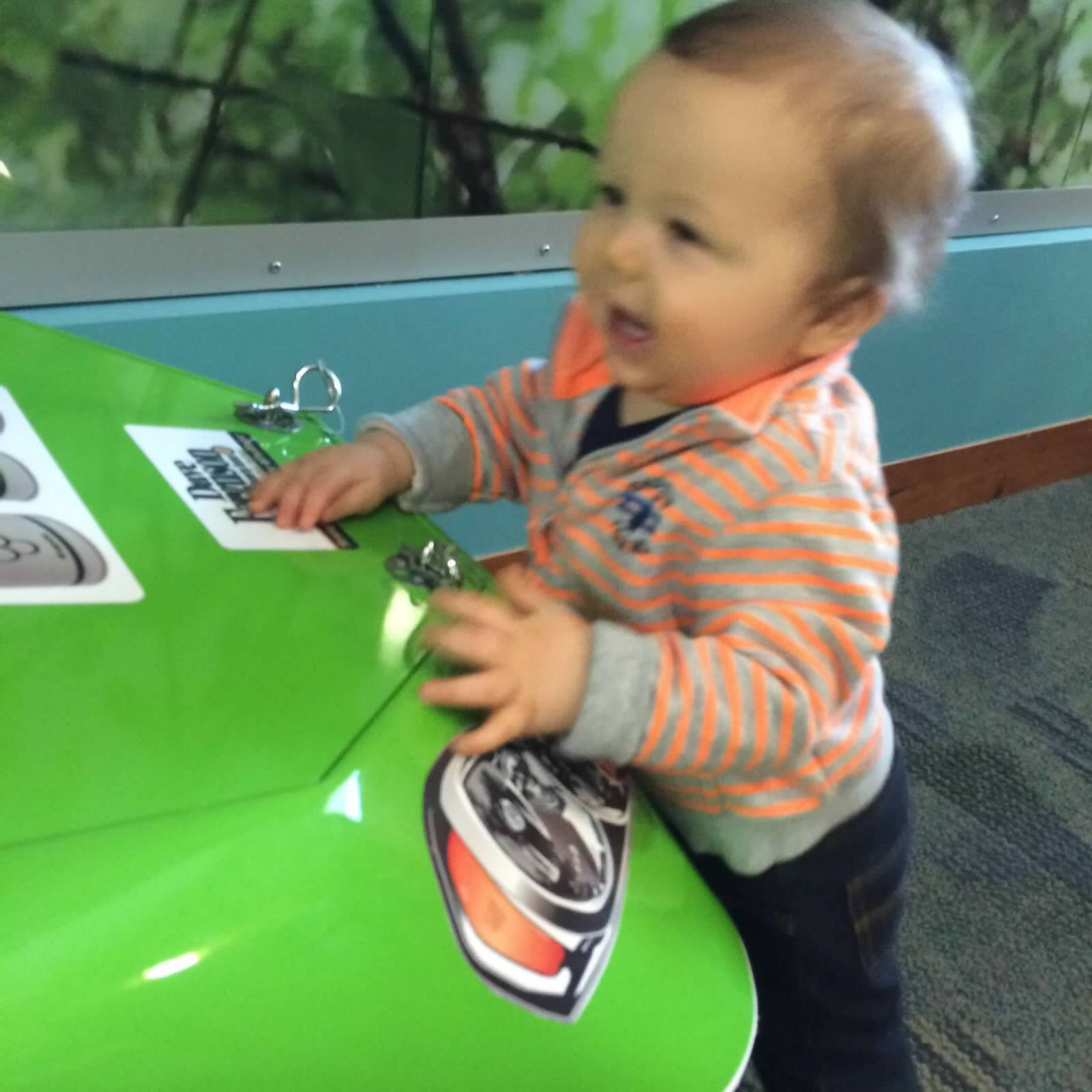 Luka's favorite toy at the clinic, the race car