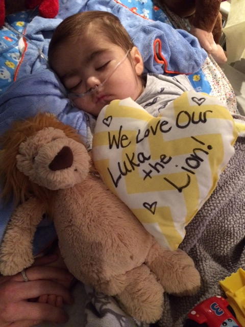 """This pillow was made for Luka by 5CH nurses and signed on the back, """"Love, Your 5CH Family."""" Special mementos like this are cherished even more during end-of-life care and beyond."""