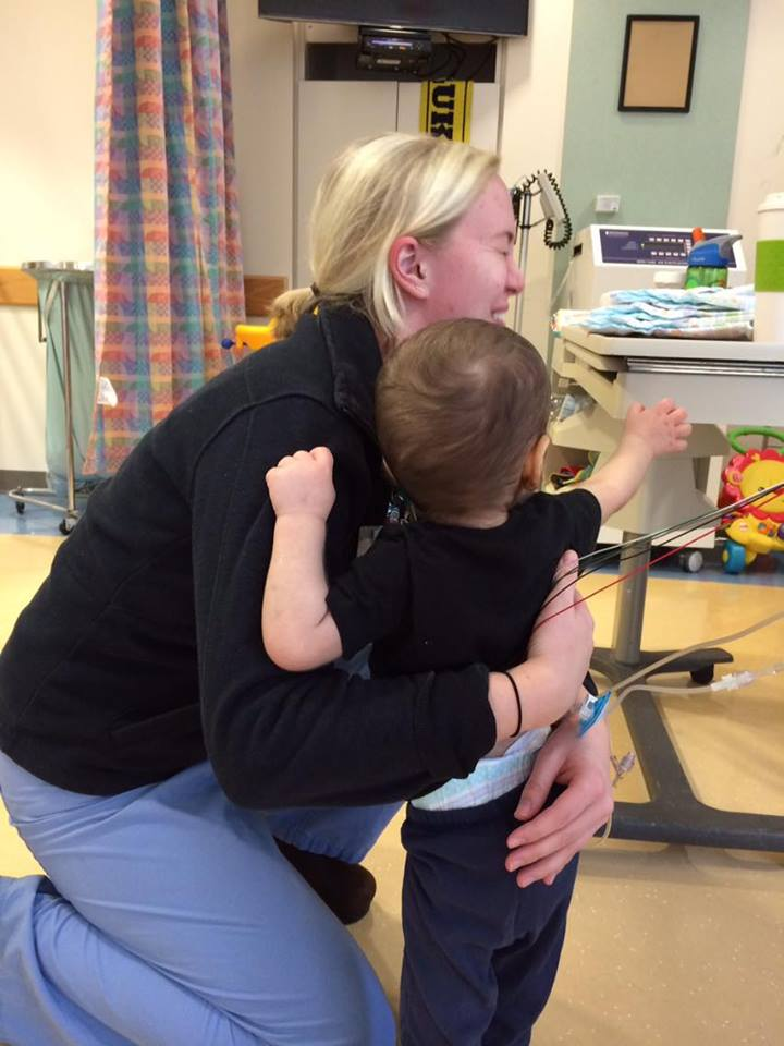 His last day out of bed, Luka got a hug from his nurse friend, Kaitlin, even though he just wanted her to help him reach his beloved water bottle. We all remember those hugs more than anything else.