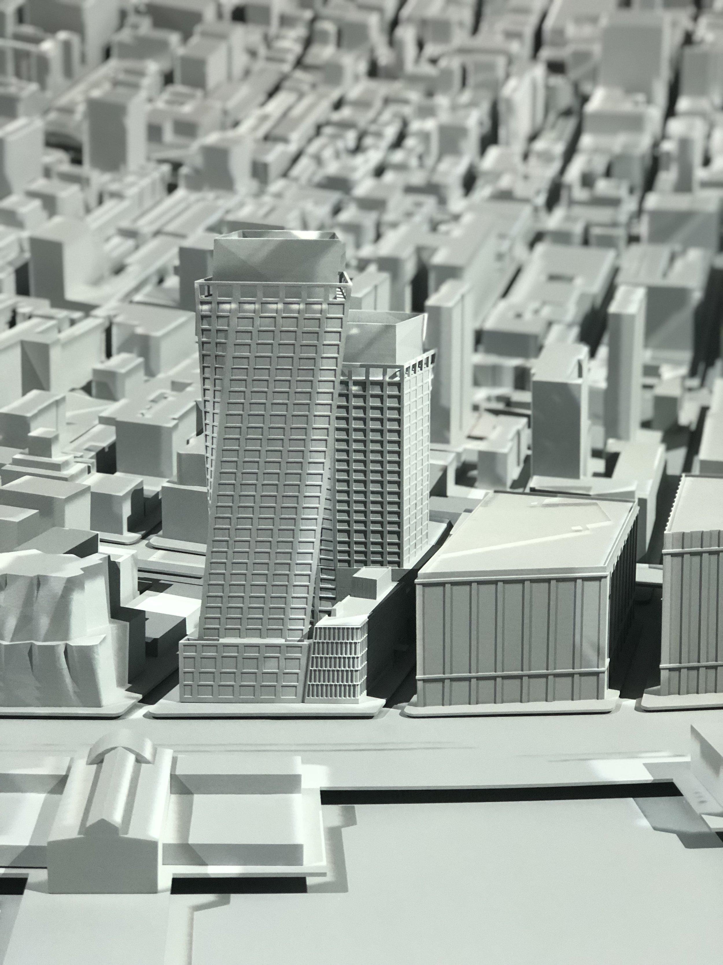 "The XI depicted amongst the Manhattan Skyline in Esi Devlin's ""Egg"""
