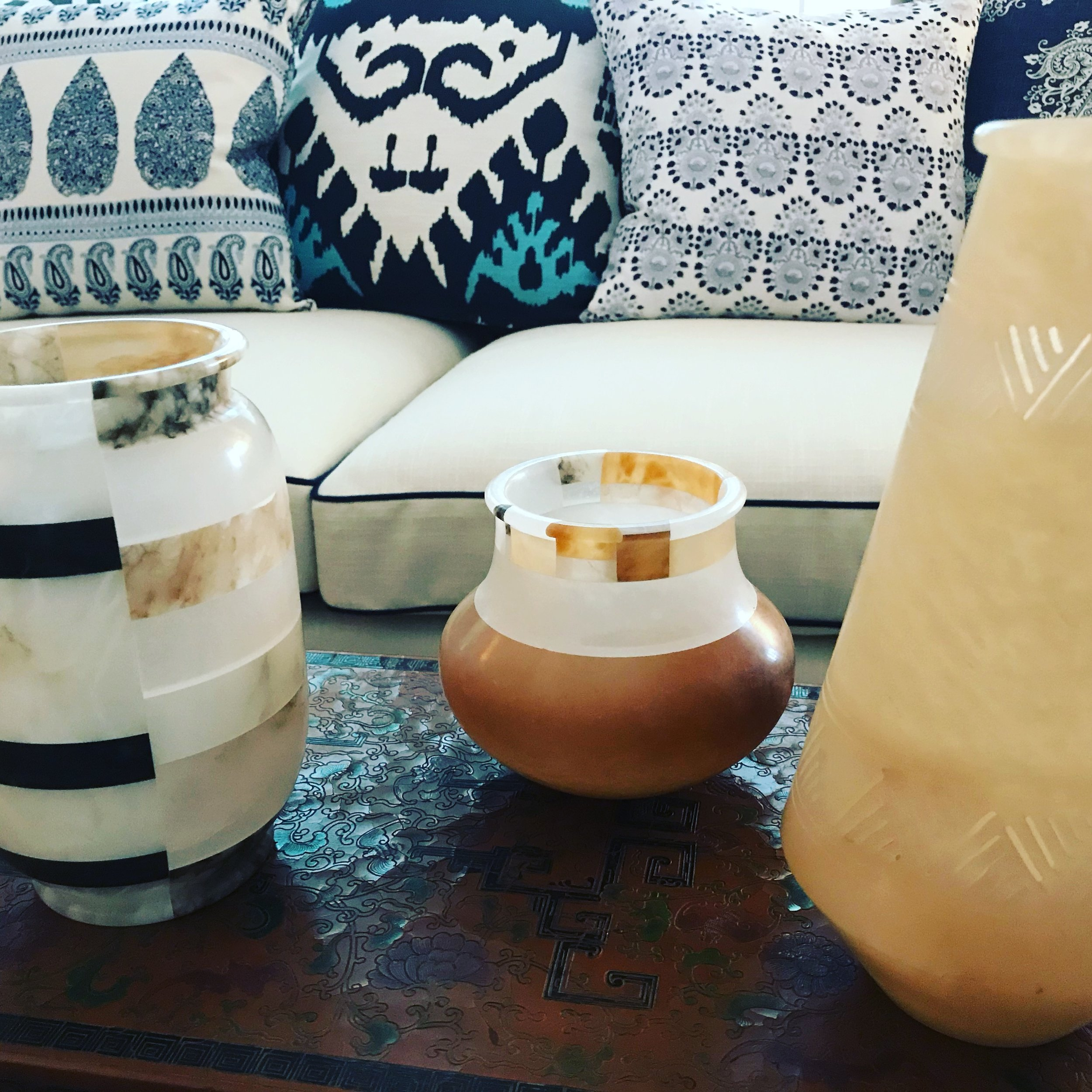 When buying for clients, Gary found these alabaster vases and brought them home.
