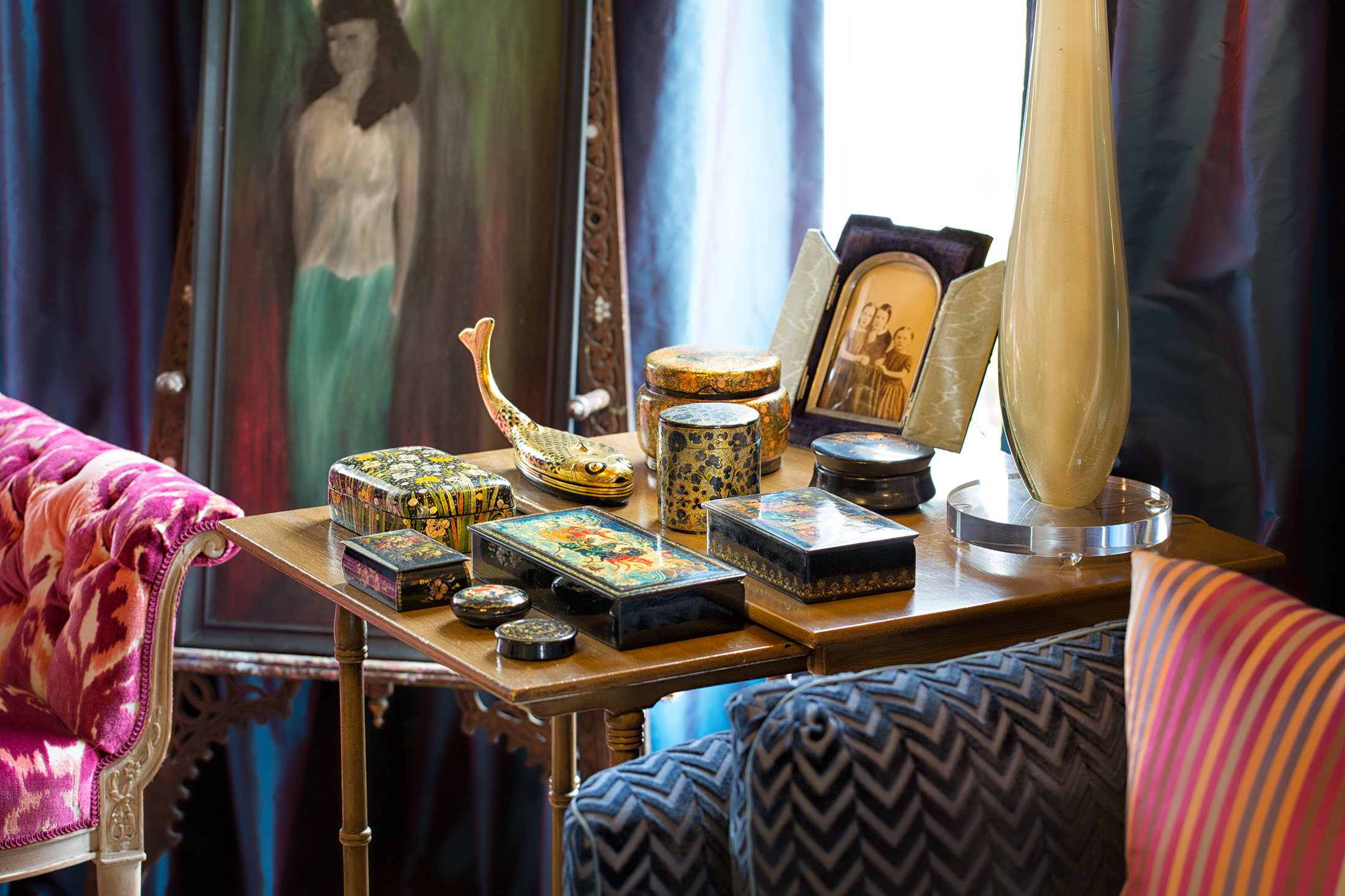 Michelle has grown her grandmother's modest Russian box collection to include examples from India and Japan.   Photo: Gregory Zabilski