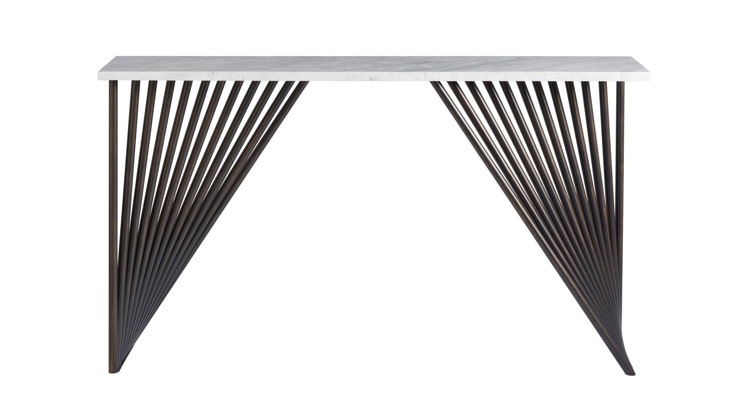 The 5'W Marcel Console features a Carrara marble top and tubular metal base in a bronze finish.