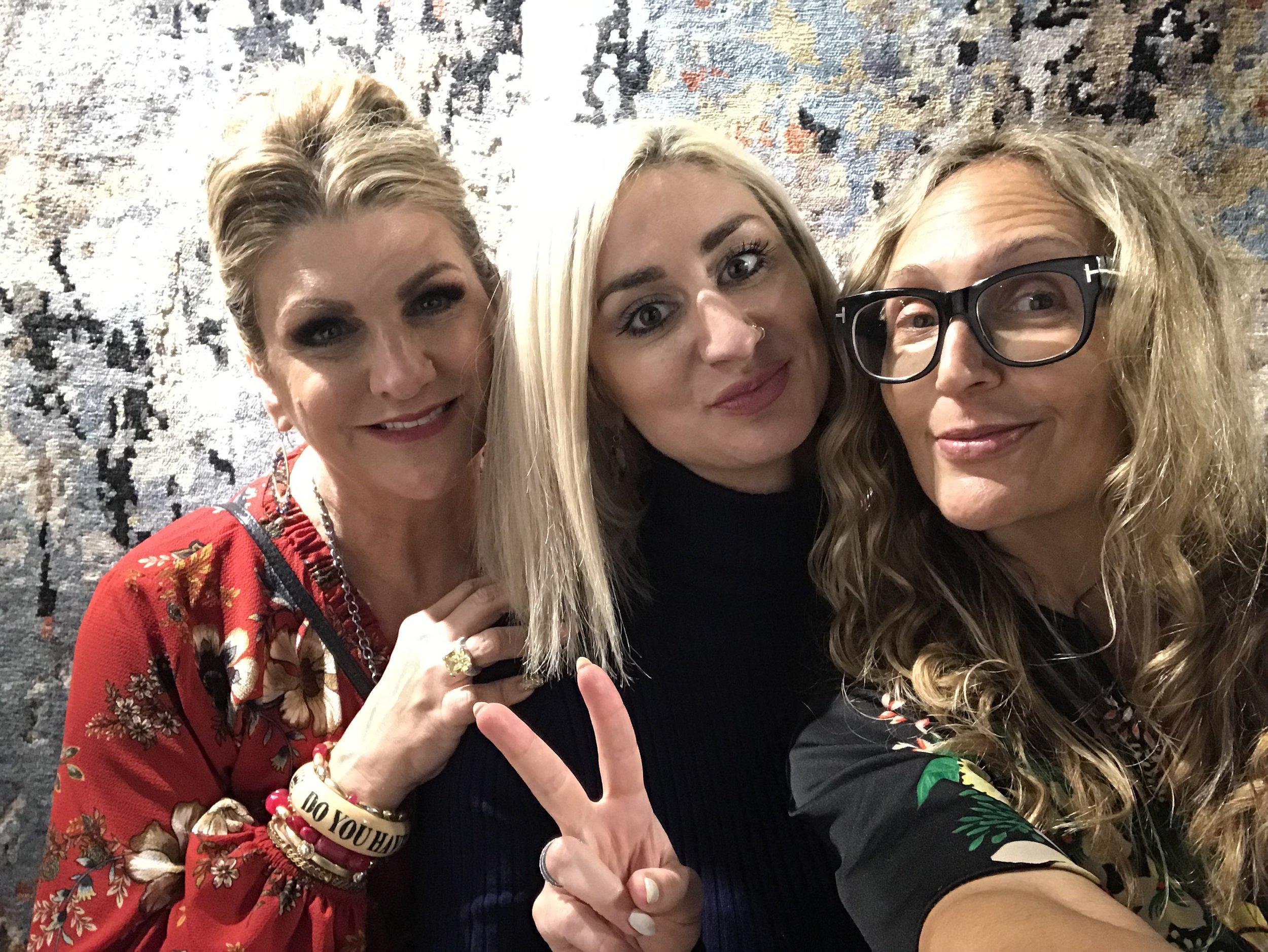 With Jackie Von Tobel and Christina Henck at Kalaty Rugs.