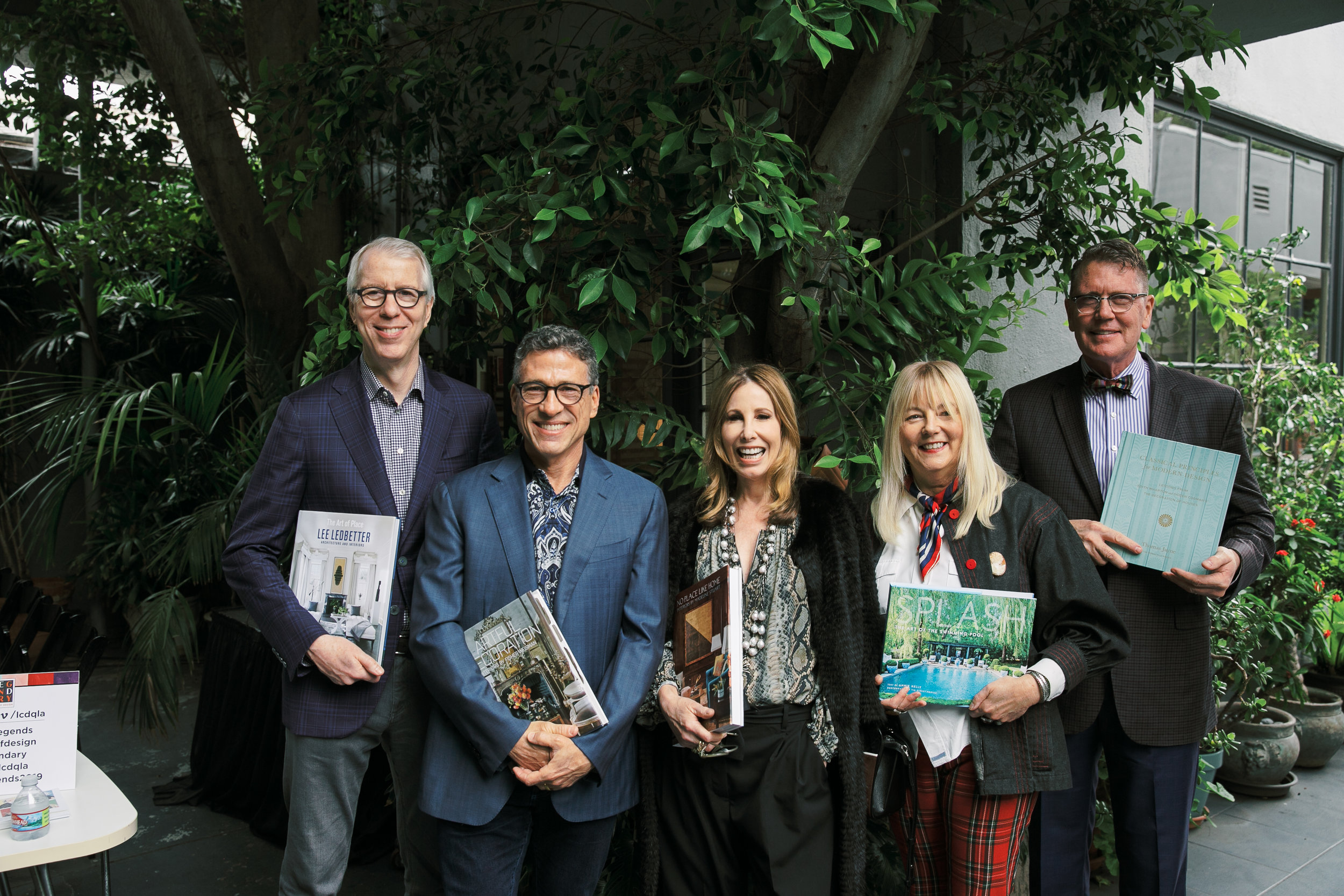 Design talent with their tomes: Jayne, Weisman, Stuart, Kelly, and Ledbetter.