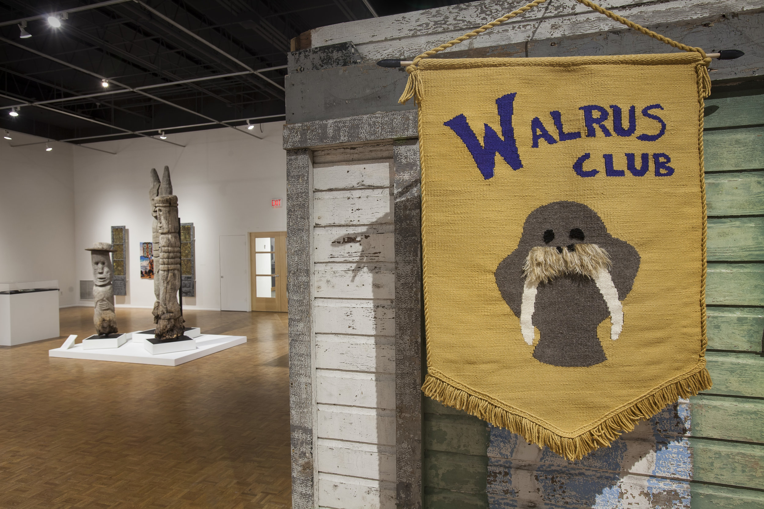"Walrus Club Banner, 2018, Handwoven tapestry in cotton   Group Exhibition ""Mary Nohl and the Walrus Club""  photo credit: John Michael Kohler Arts Center"