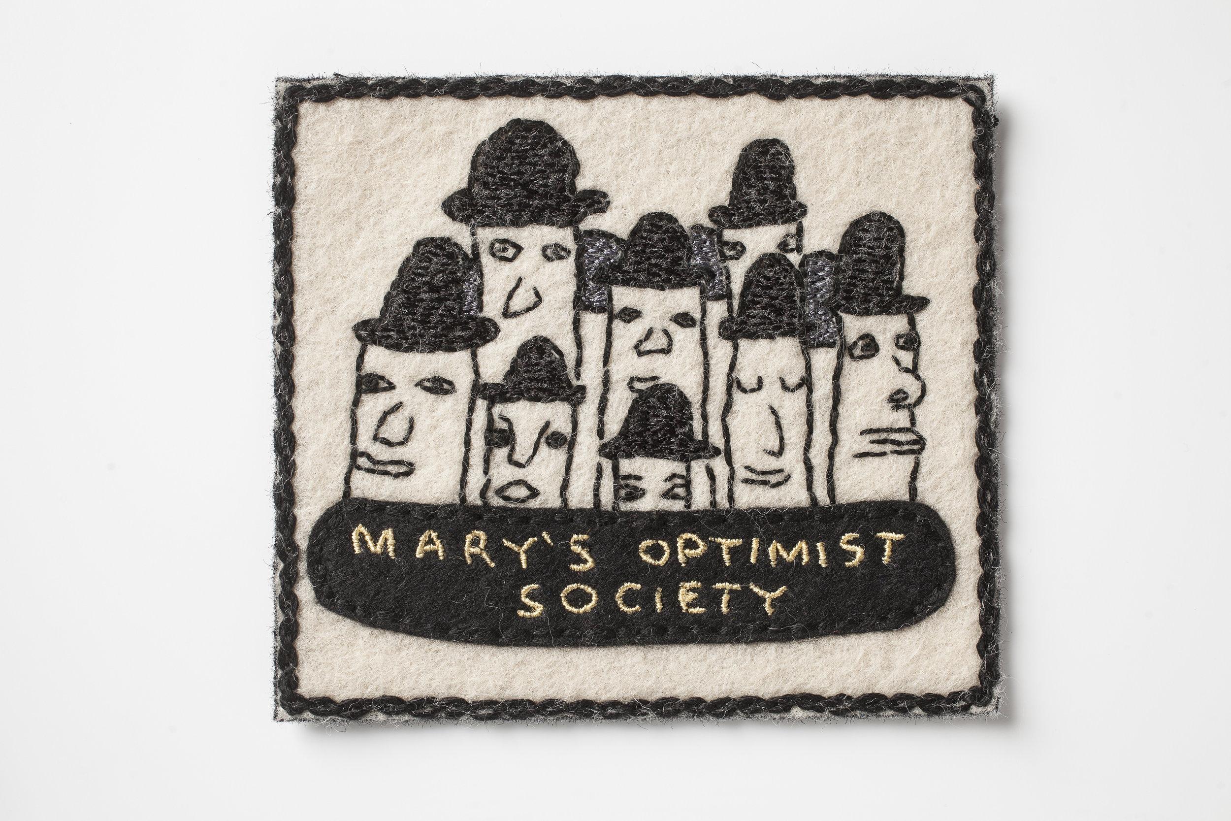 Mary's Optimist Society Badge , 2018, Embroidery thread, acrylic paint and wool felt  photo credit: John Michael Kohler Arts Center