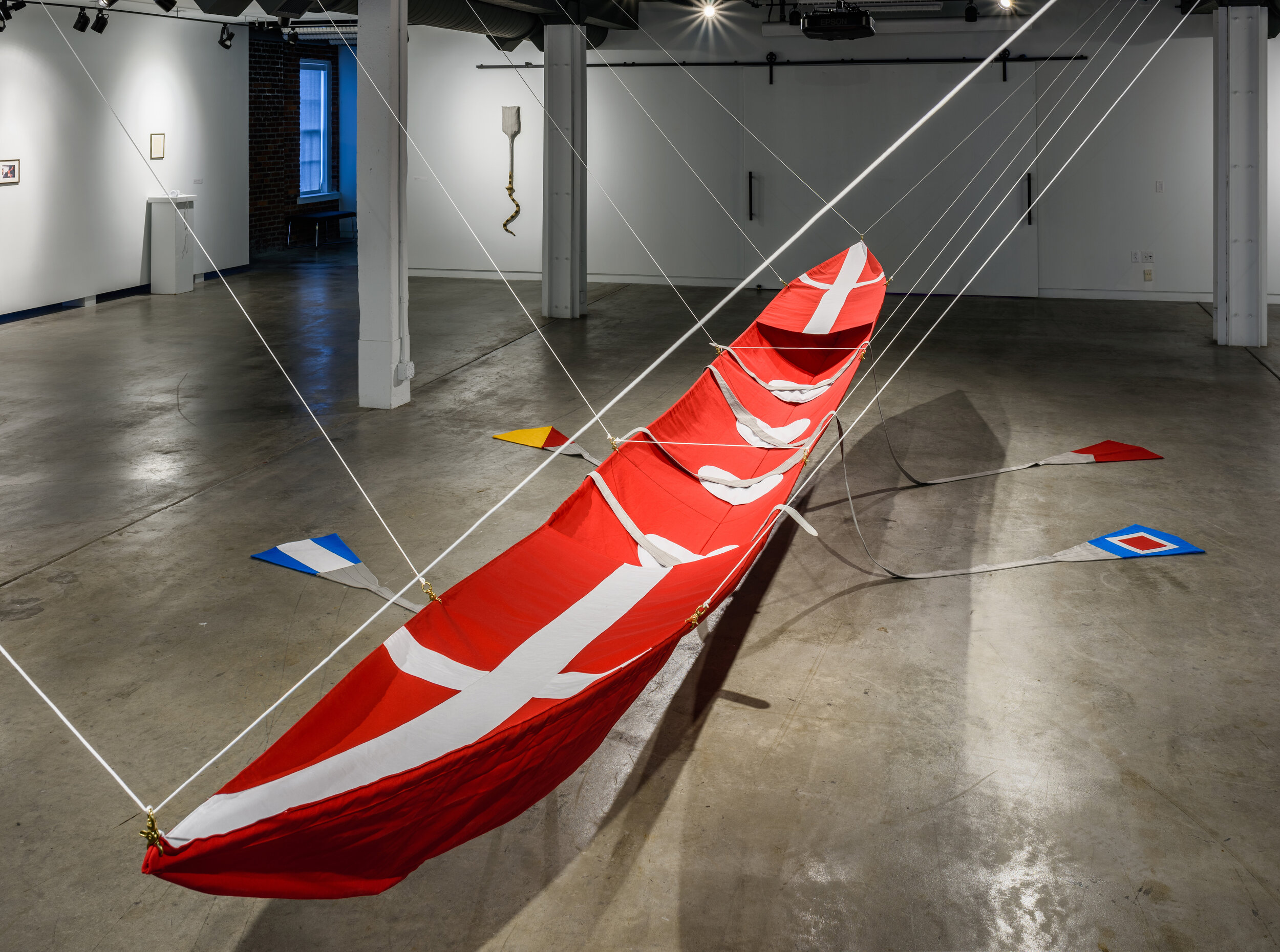 Four in a Boat and the Tide Rolls High , cotton canvas, rope, hardware, 2016  Photo credit:  Frank Döring