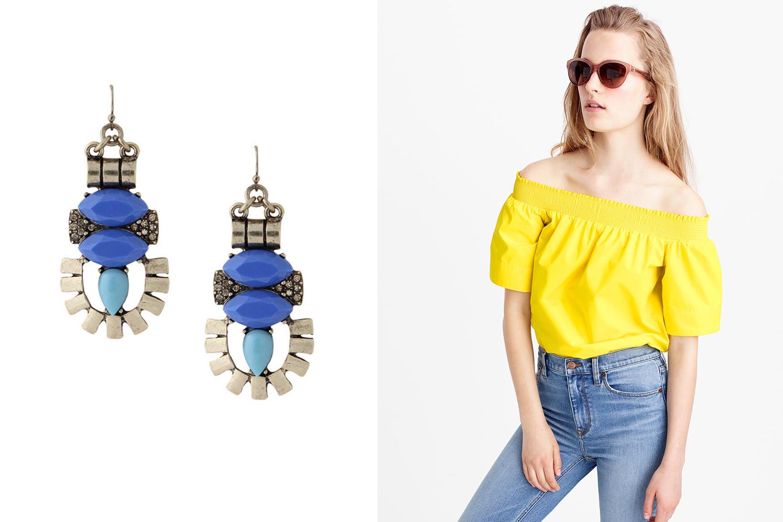Olive and Piper earrings, $24;  oliveandpiper.com . J.Crew top, $88;  jcrew.com .