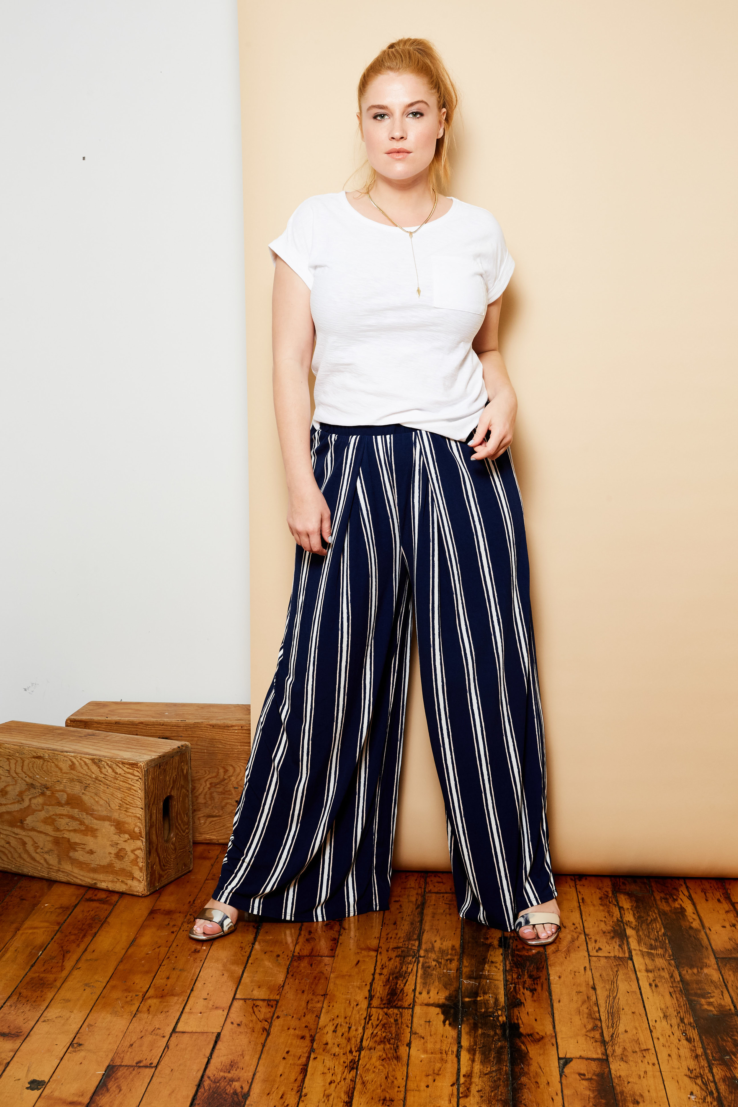 Mossimo tee, $12.   Bar III pants available at Macy's, $59.50.   Jules Smith necklace, $80.   Dune London sandals, $125.