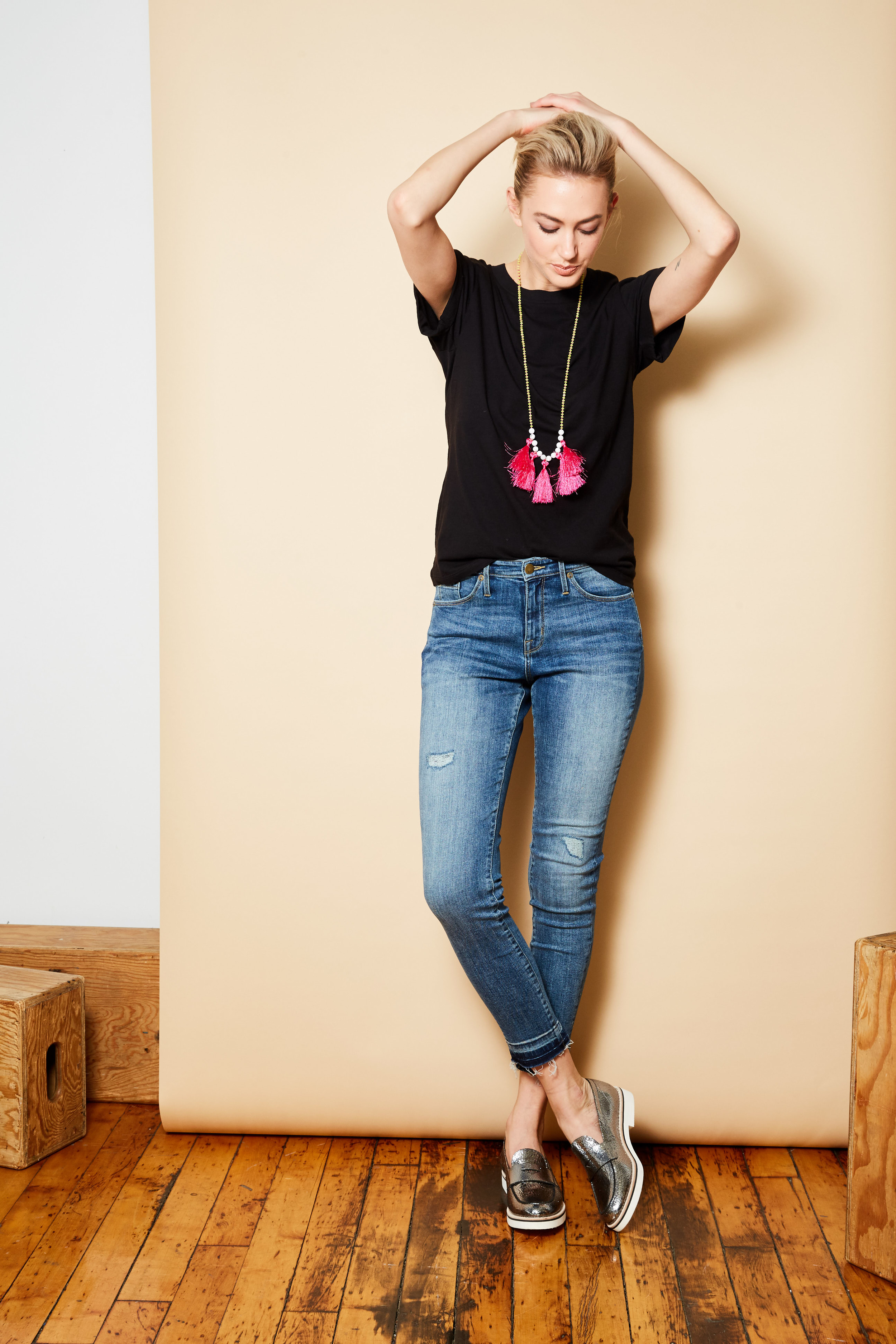 Splendid tee, $78.   Mossimo jeans available at Target, $29.99.   MeMe London necklace, $110.   Dune London loafers, $179.