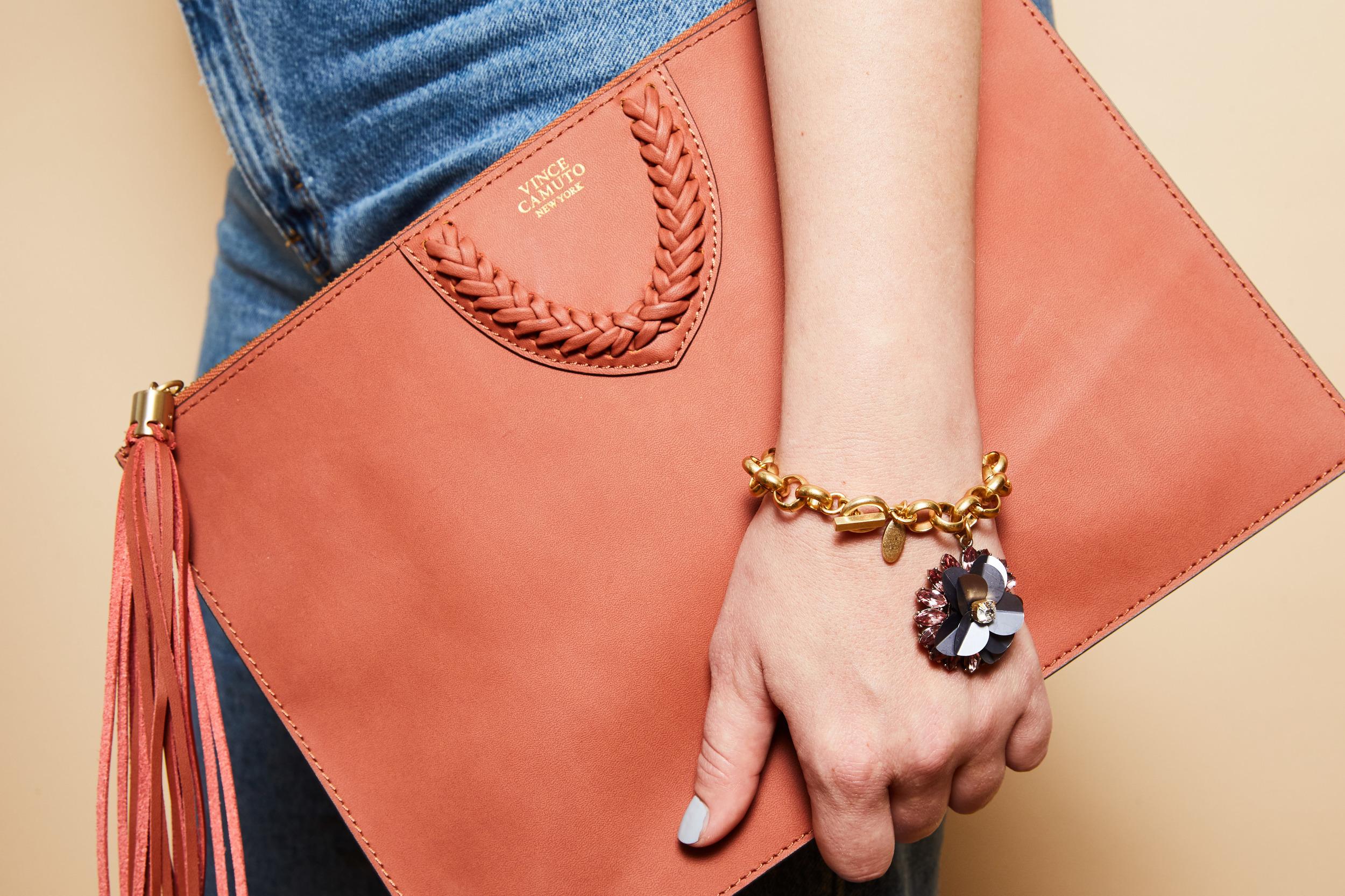 Vince Camuto clutch, $148;  vincecamuto.com . Ann Taylor bracelet, $49.50 (avail 9/2);  anntaylor.com .  Photographed by  Lauren Perlstein .