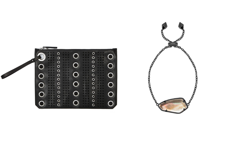 Etienne Aigner clutch, $89;  etienneaigner.com . Kendra Scott bracelet, $70;  k  endrascott.com .