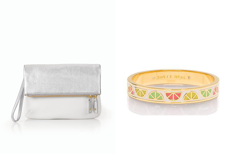 Talbots Clutch, $99;  talbots.com . Kate Spade bracelet, $78;  katespade.com .