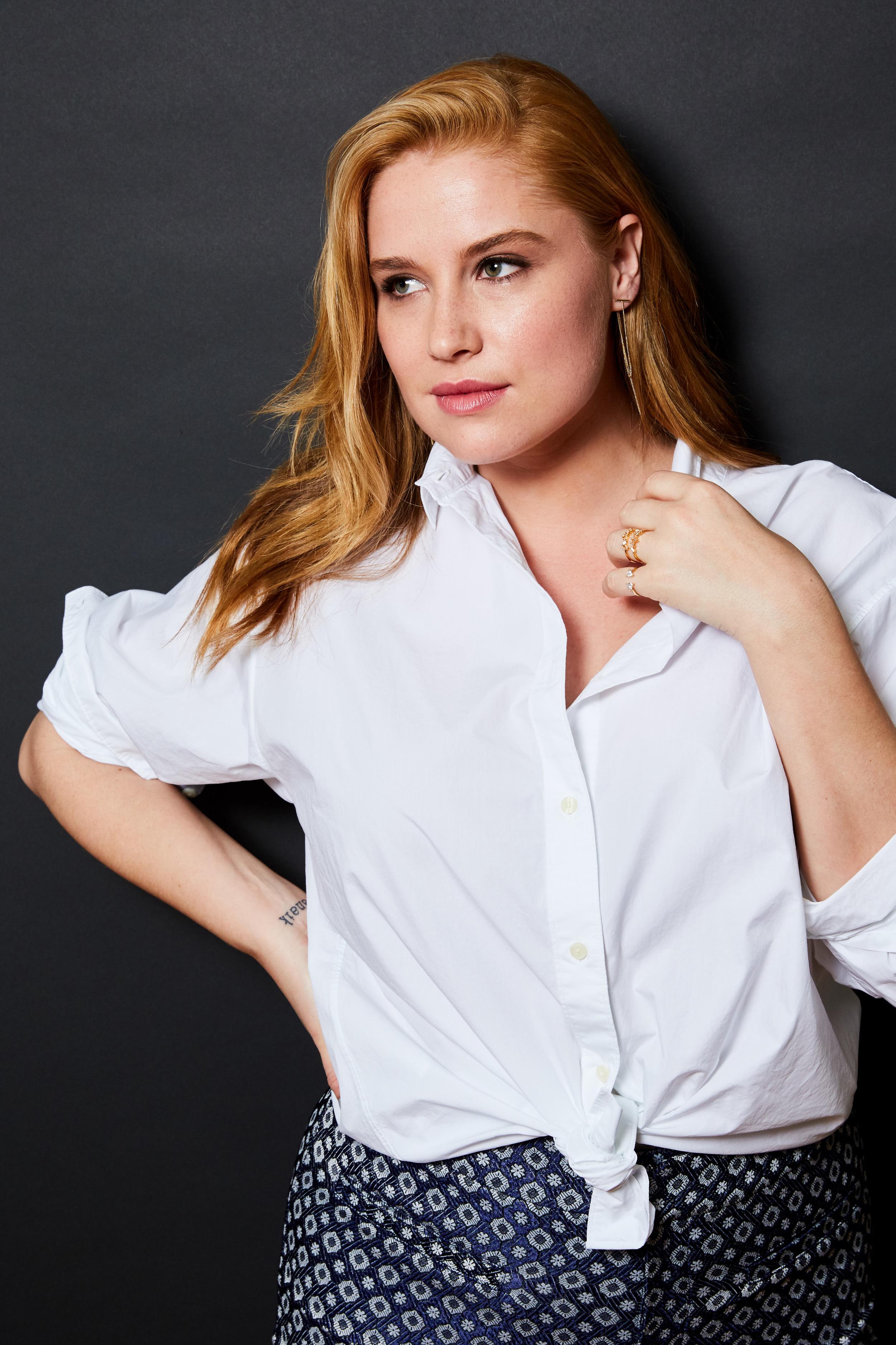 Lands' End shirt, $49;  landsend.com . Rachel Rachel Roy printed pants, $46.99;  macys.com . Jewelry Storm drop earrings, $36;  jewelrystorm.com . MeMe London rings, $75 each;  meme.london .