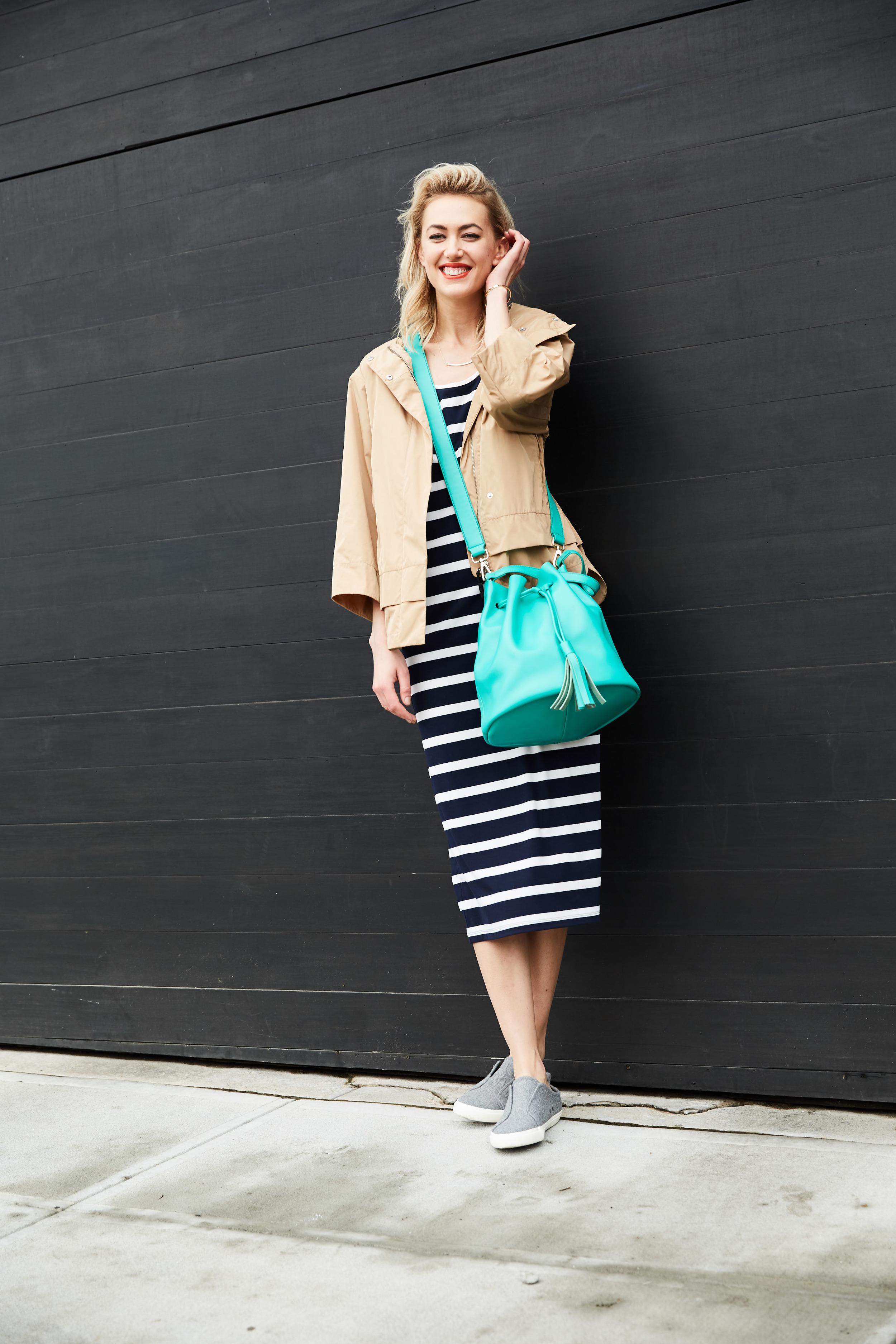 Nautica jacket, $248;  nautica.com . The Limited dress, $59.95;  thelimited.com . Toms sneakers, $39.50;  6pm.com . Jewelry Storm necklace, $38;  jewelrystorm.com . April Soderstrom bracelet, $48 (for set of 3);  aprilsoderstrom.com . KC Jagger bucket bag, $52.99;  saksoff5th.com .
