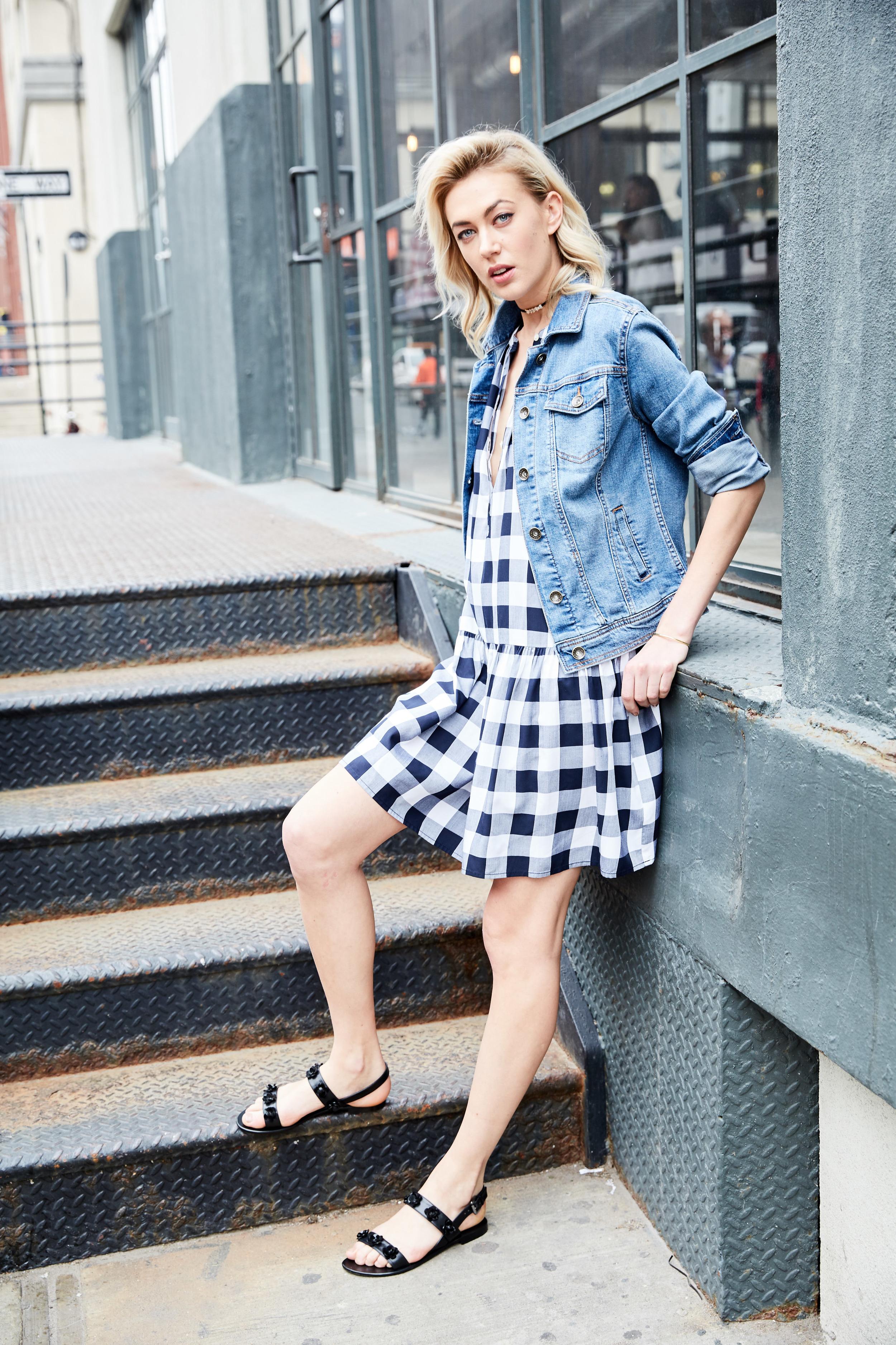 LOFT dress, $69.50;  loft.com . Merona jacket, $29.99;  target.com . BECK Jewels choker, $89;  beckjewels.com . Dune London sandals, $60;  dunelondon.com . April Soderstrom bracelet, $48 (for set of 3);  aprilsoderstrom.com .