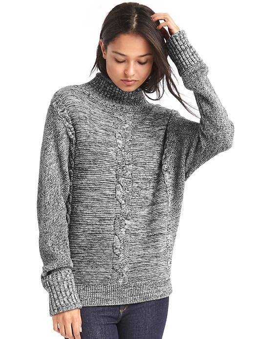 Gap plait cable knit mockneck sweater, $69.95; gap.com.