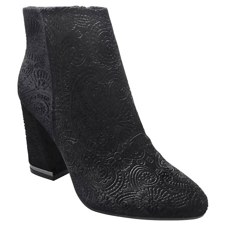 """""""I wear booties almost every day during the winter, and black is usually my go-to. These paisley velvet ones ( $44.99 )are not your average black booties. They act as a statement piece, but they match almost anything in your closet!"""""""