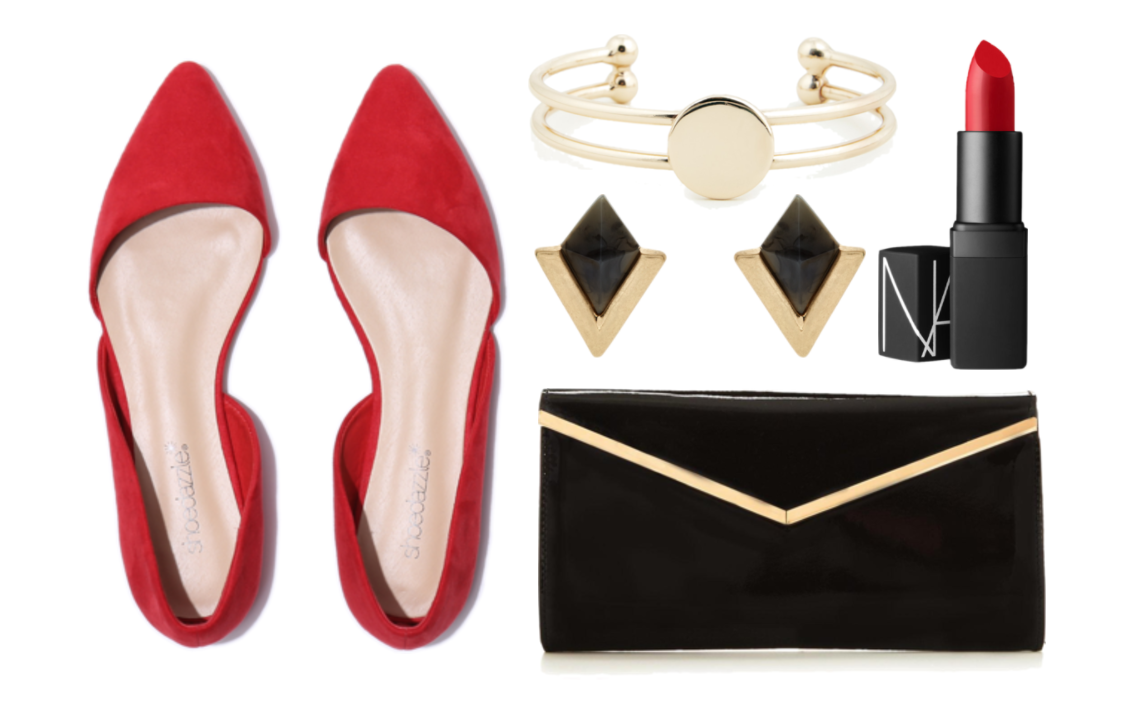 "Shoes:  Shoe Dazzle ""Lisethe"" flats, $44.95;shoedazzle.com.  Bracelet:  Sole Society ""Signet""cuff bracelet, $30, solesociety.com.  Earrings:  Accessorize ""Phoenix Geo Stud"" earrings, $11.50, accessorize.com.  Clutch: V by Very ""Patent V Bar Clutch"" Bag, $16, very.com . Lipstick:  Nars ""Jungle Red""Semi Matte Lipstick, $28, narscosmetics.com"