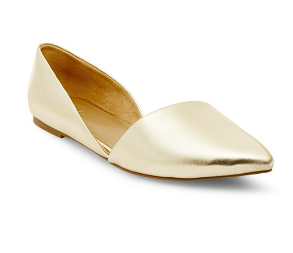 The metallic shine is all you need to dress up a pair of jeans.  Target, $22.99, target.com.