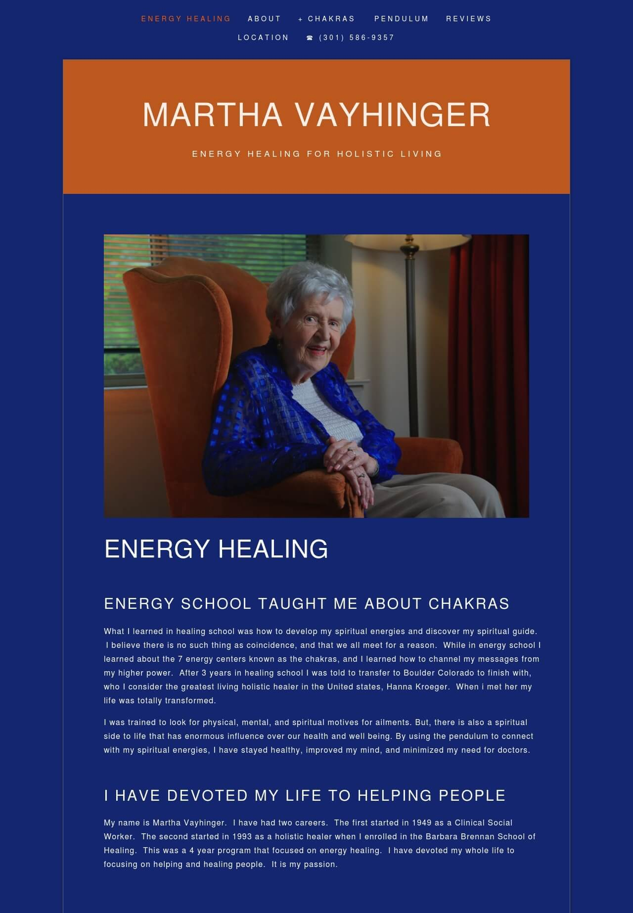 Martha Vayhinger - Martha wants to focus on her energy healing, but she is also a professional therapist. We showed her professional affiliations to give her website more credence.