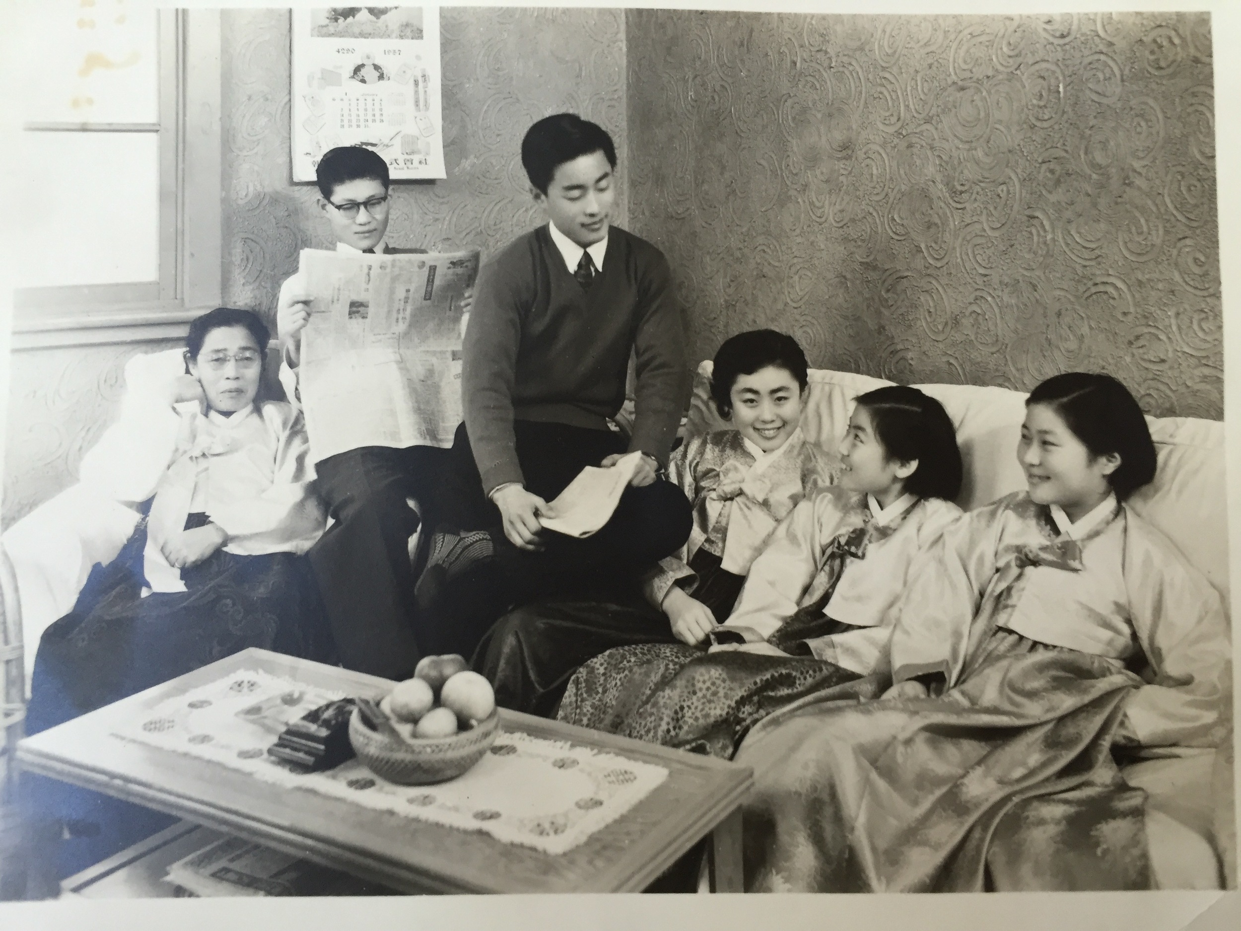 With her mom and siblings in Seoul, 1957
