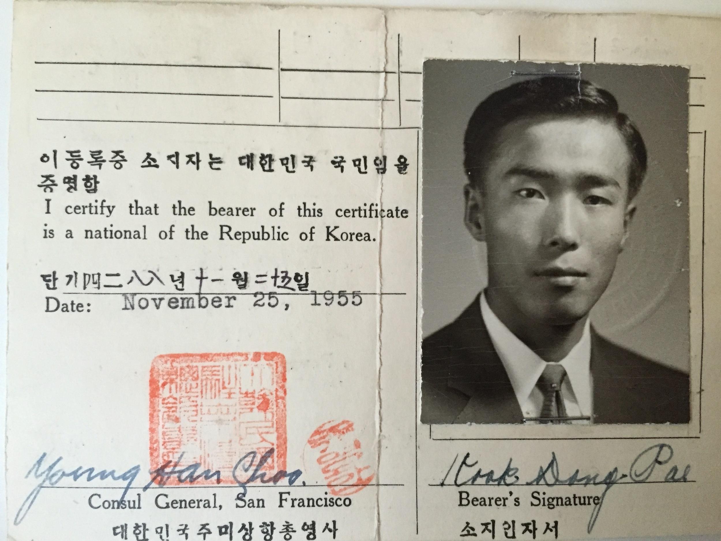 His Korean registration card