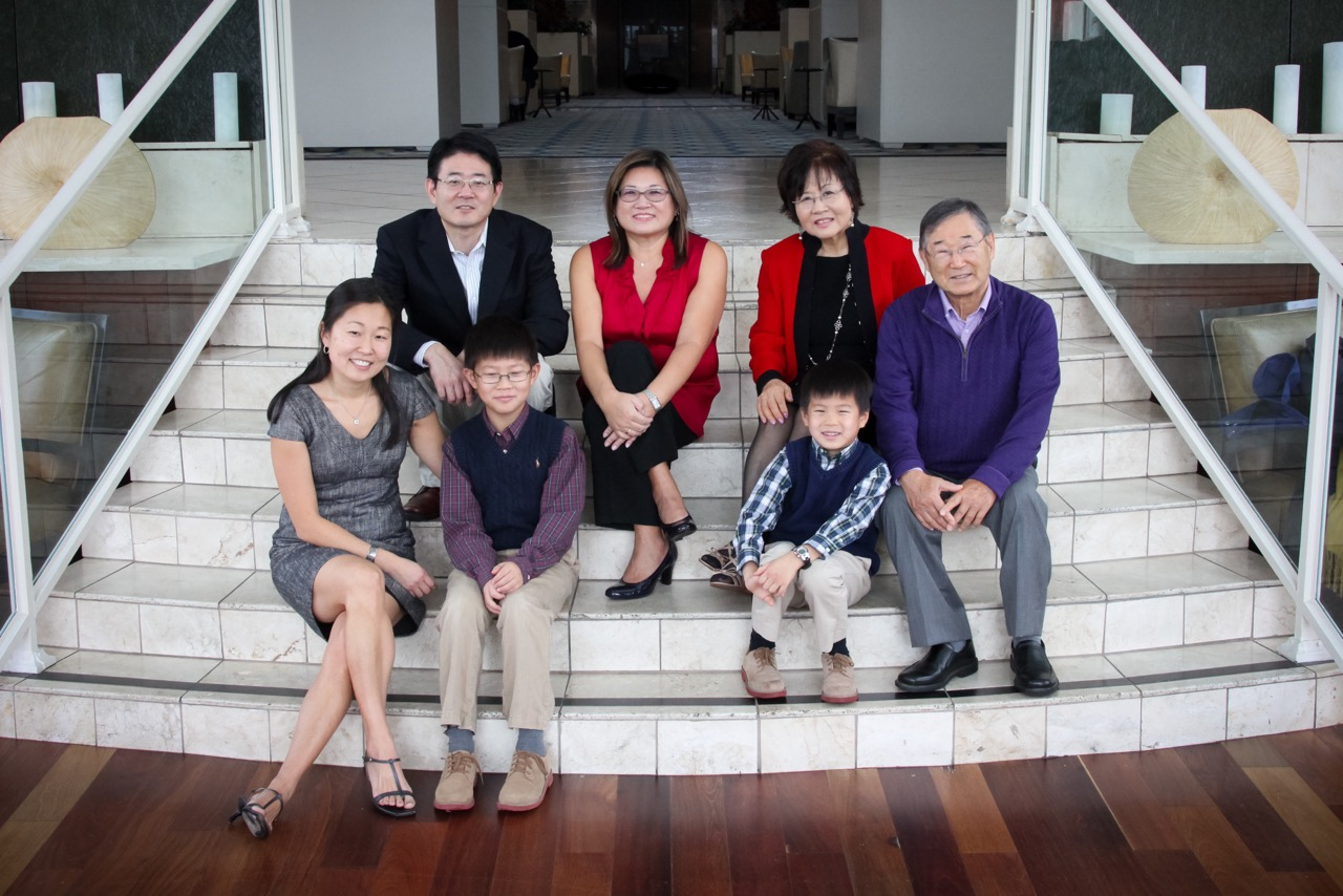 With his family