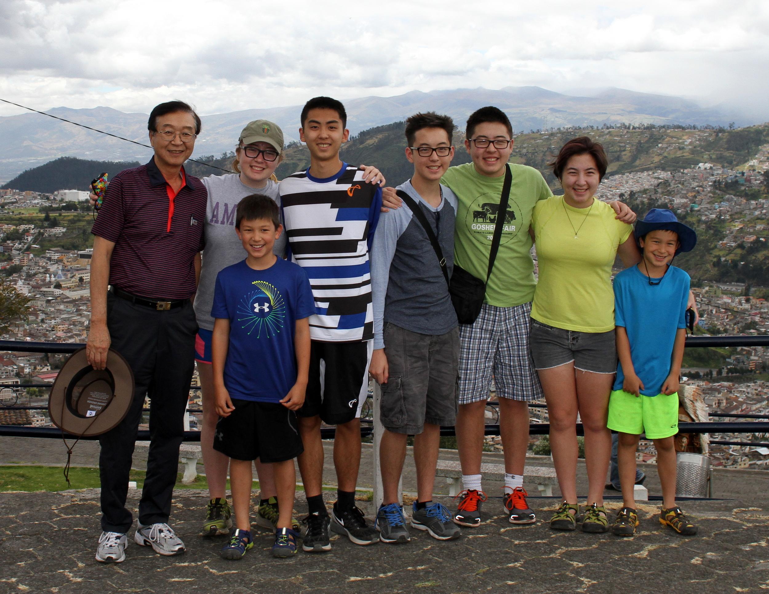 Chan Il Chung with his grandchildren in Ecuador, 2015