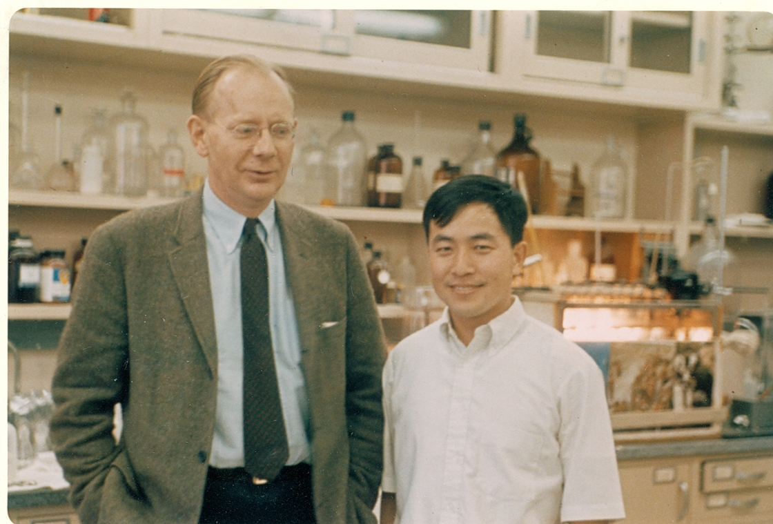 With Walter Kauzmann, his thesis advisor at Princeton, 1968