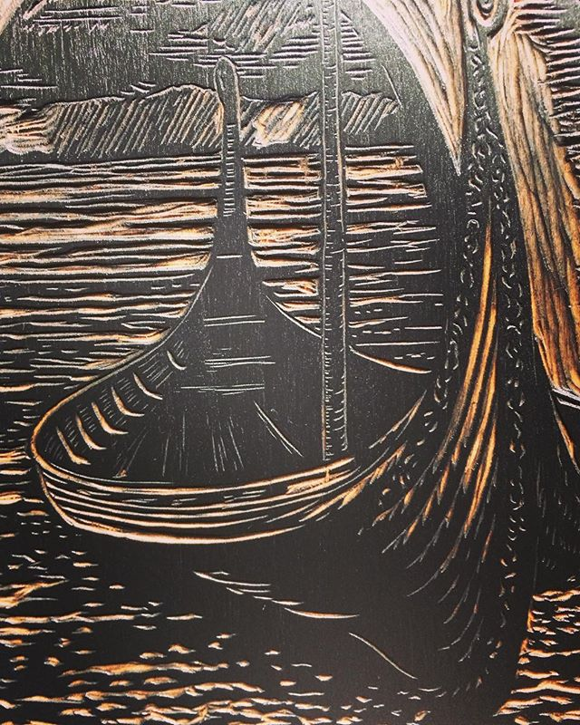 Excellent to be carving a woodcut again! Here is a detail from a newly finished commission. Already have ideas for the next print! #woodcut  #vikingship #vikingmuseum #reliefprint #caligoink #printmaking
