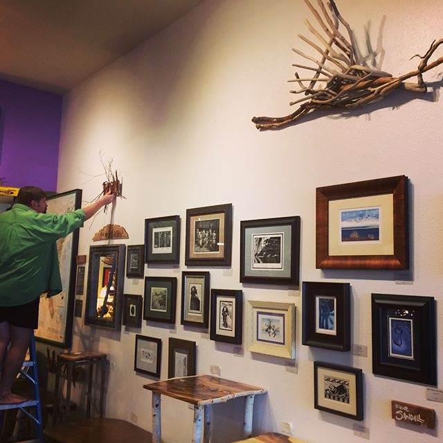"I had a great time setting up my work at Out On A Limb Gallery in Eugene yesterday. Tim B is so wonderful to work with! The display looks beautiful, with his work integrated in via the gorgeous tables and the graceful driftwood heron. Show runs now through September 28th with a ""meet the artist"" opportunity at the First Friday Art Walk on the 7th from 5:30-7:00. Stop on by! WhitPrint now has a wall of their own in the gallery, for more printmaking fun! @whit_print @outonalimbwithtimb #whitprint #printmaking #linocuts #woodcuts #print #outonalimb"