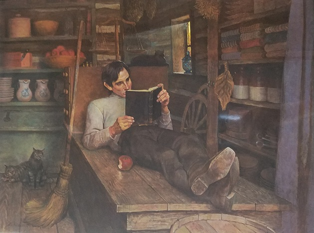 """LINCOLN READING IN OFFUTT'S STORE  16.5"""" X 20"""" Starting at $75.00  *shipping not included*"""