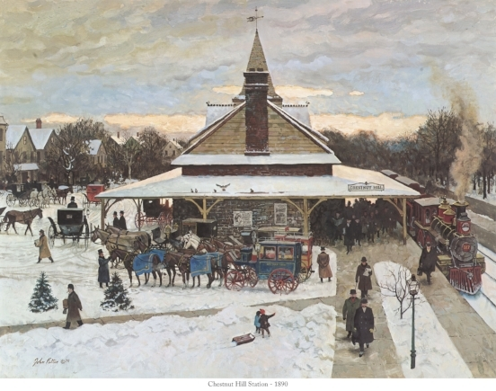 """CHESTNUT HILL STATION 1890  14"""" X 18"""" $50.00 *shipping not included*"""