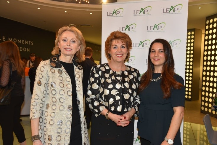 Ambassador Geraldine Byrne-Nason (center) with Co-Directors of LEAP Maura Kelly (left) and Courtney Sunna (right) at the 2019 launch of LEAP