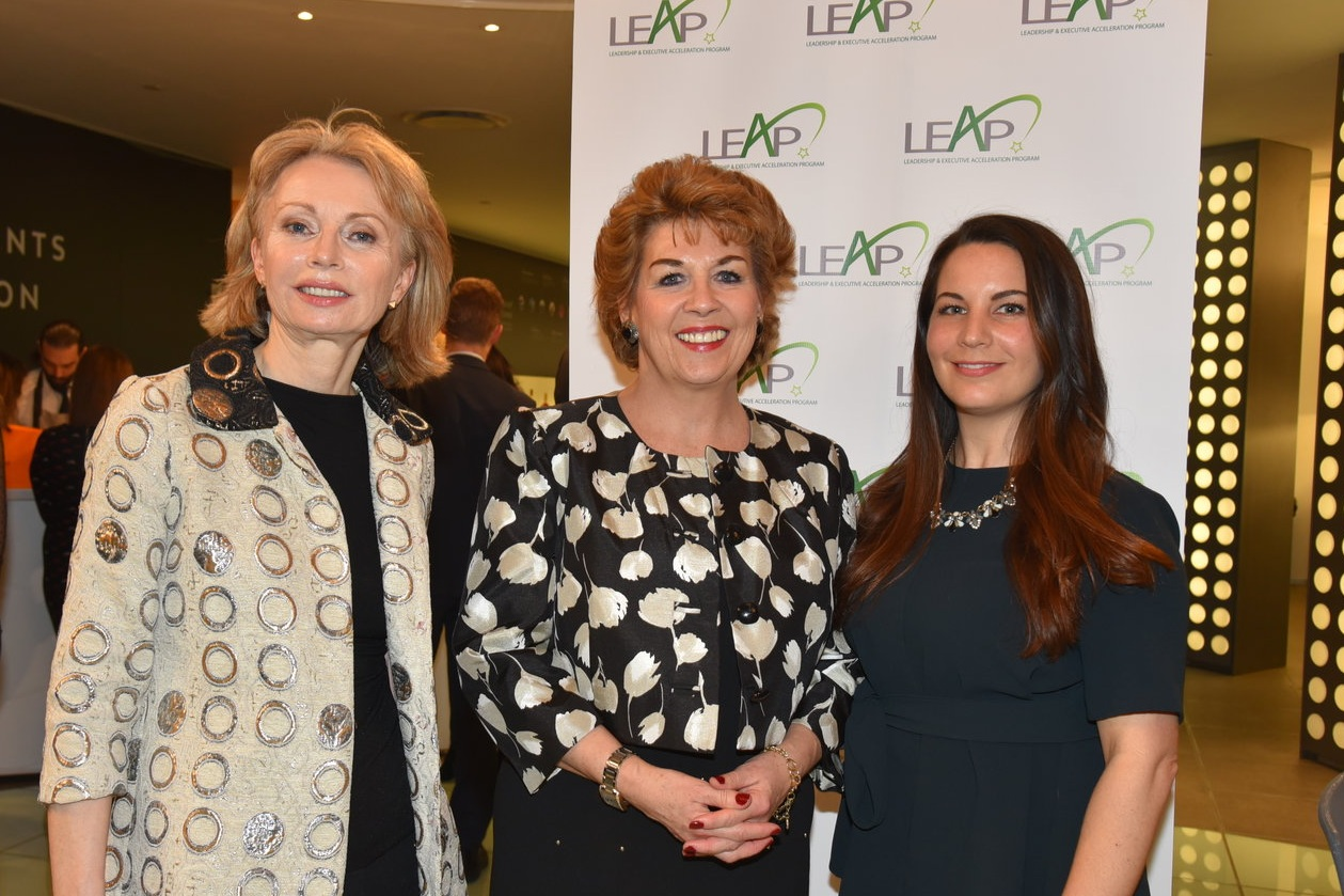 Ambassador Geraldine Byrne-Nason (center), with LEAP Directors Maura Kelly and Courtney Sunna, at the  2019 Program Launch  on February 7th.