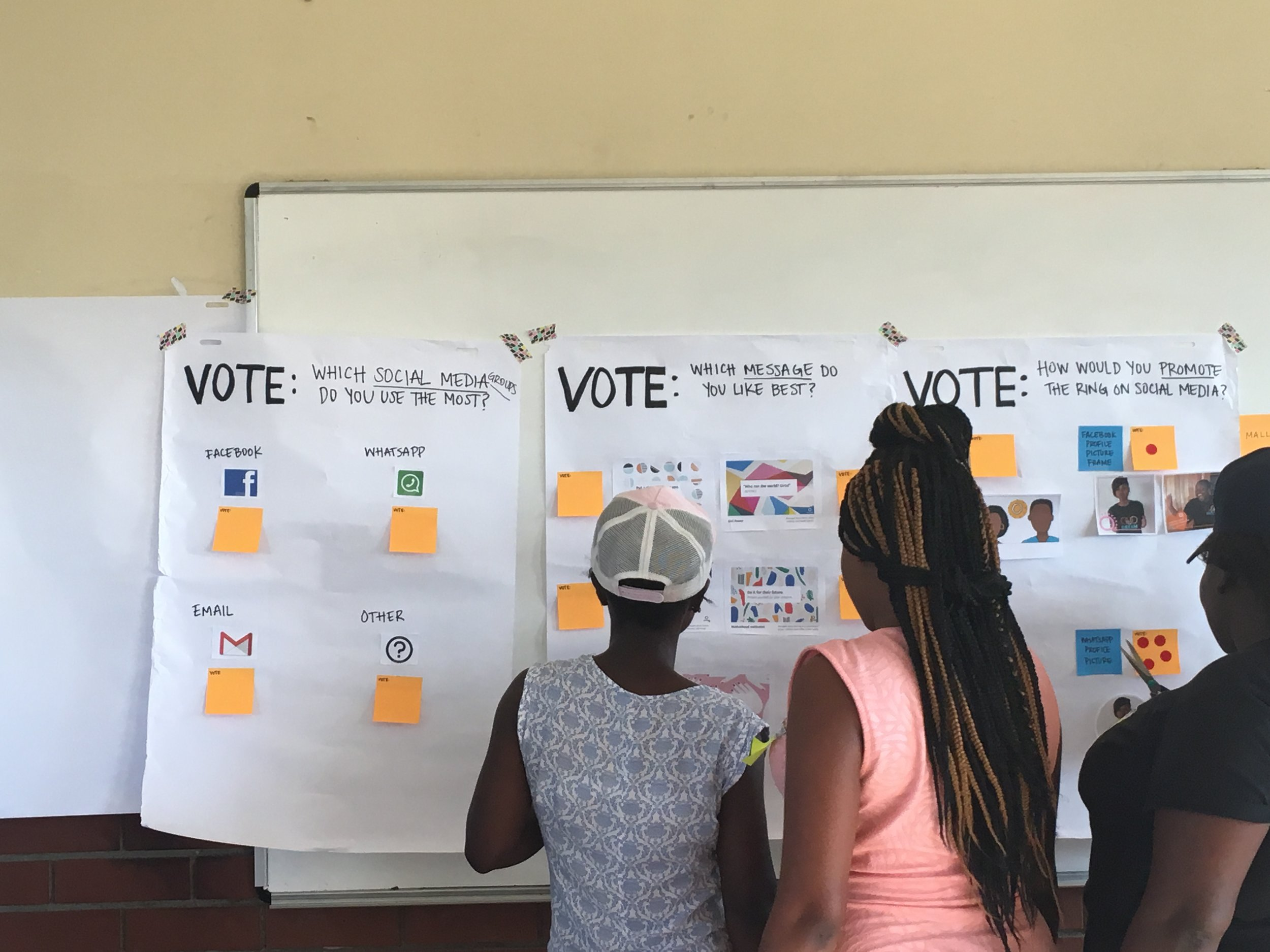 Women voting on design concepts