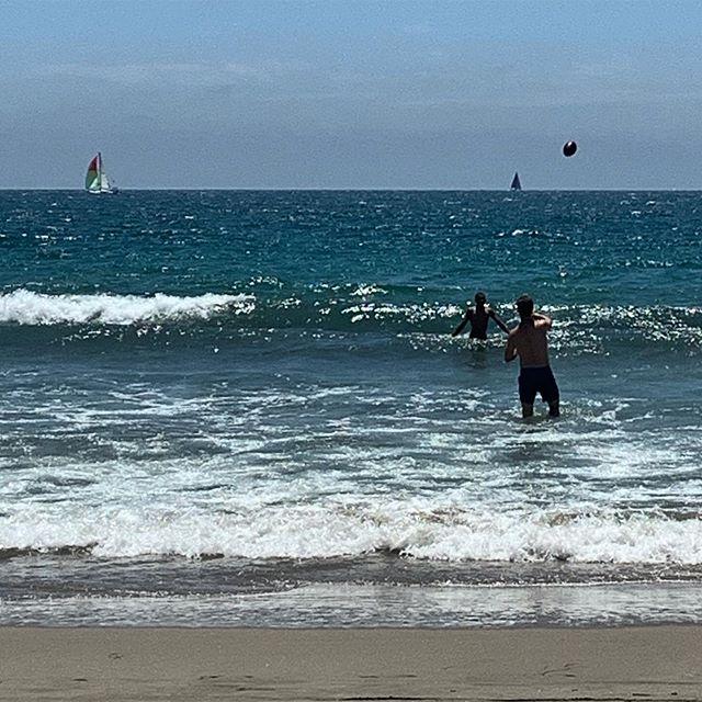 My boys, a football, and the beach. #HappySummer from mama's beach chair.