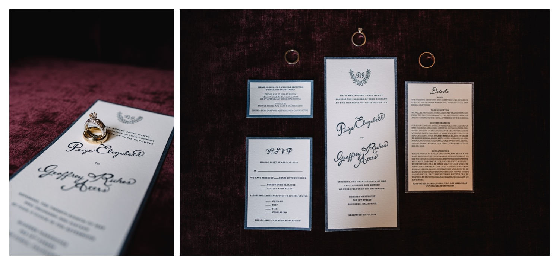 Custom Wedding invitations on purple