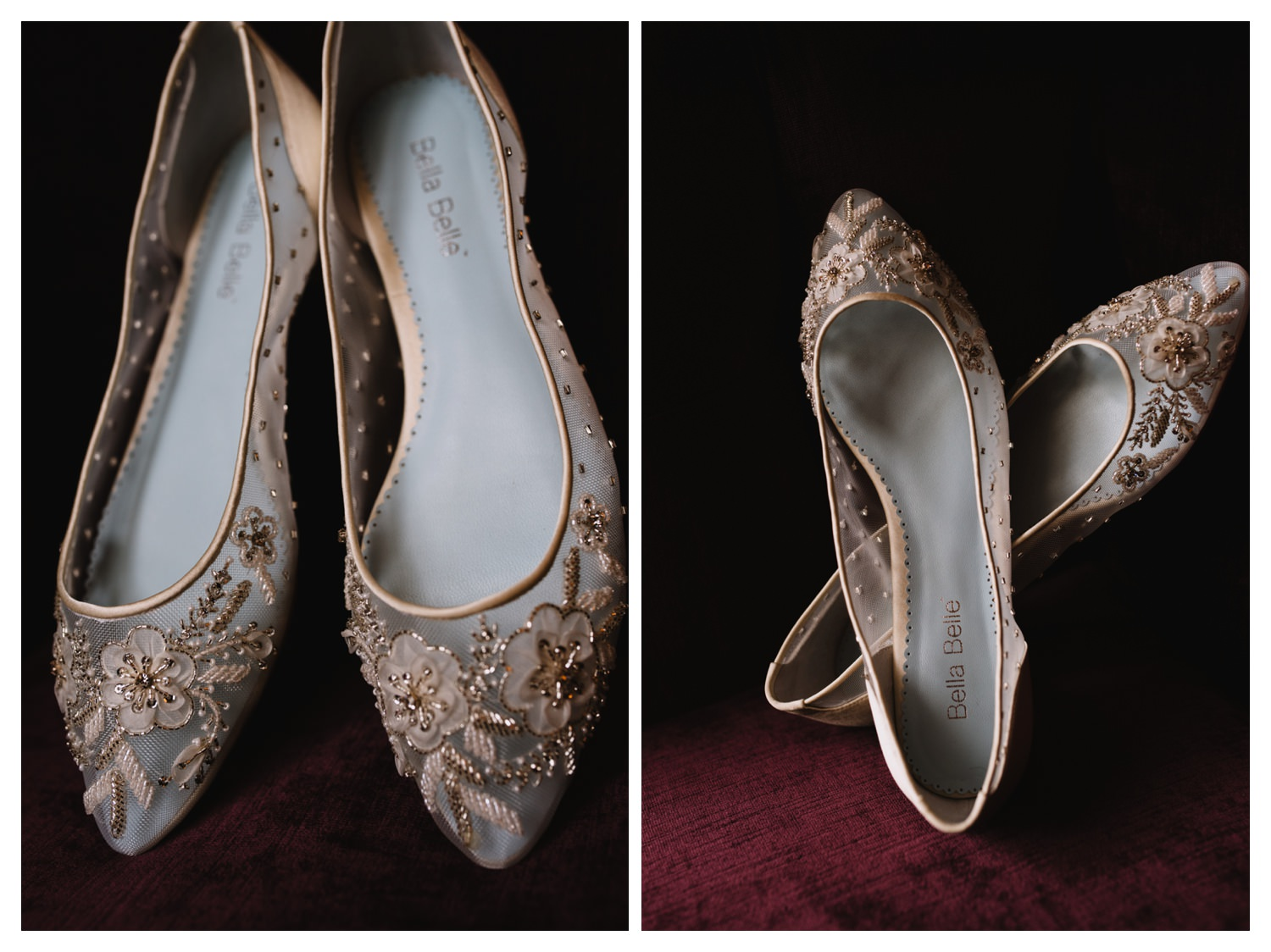 Flat shoes worn on a wedding day