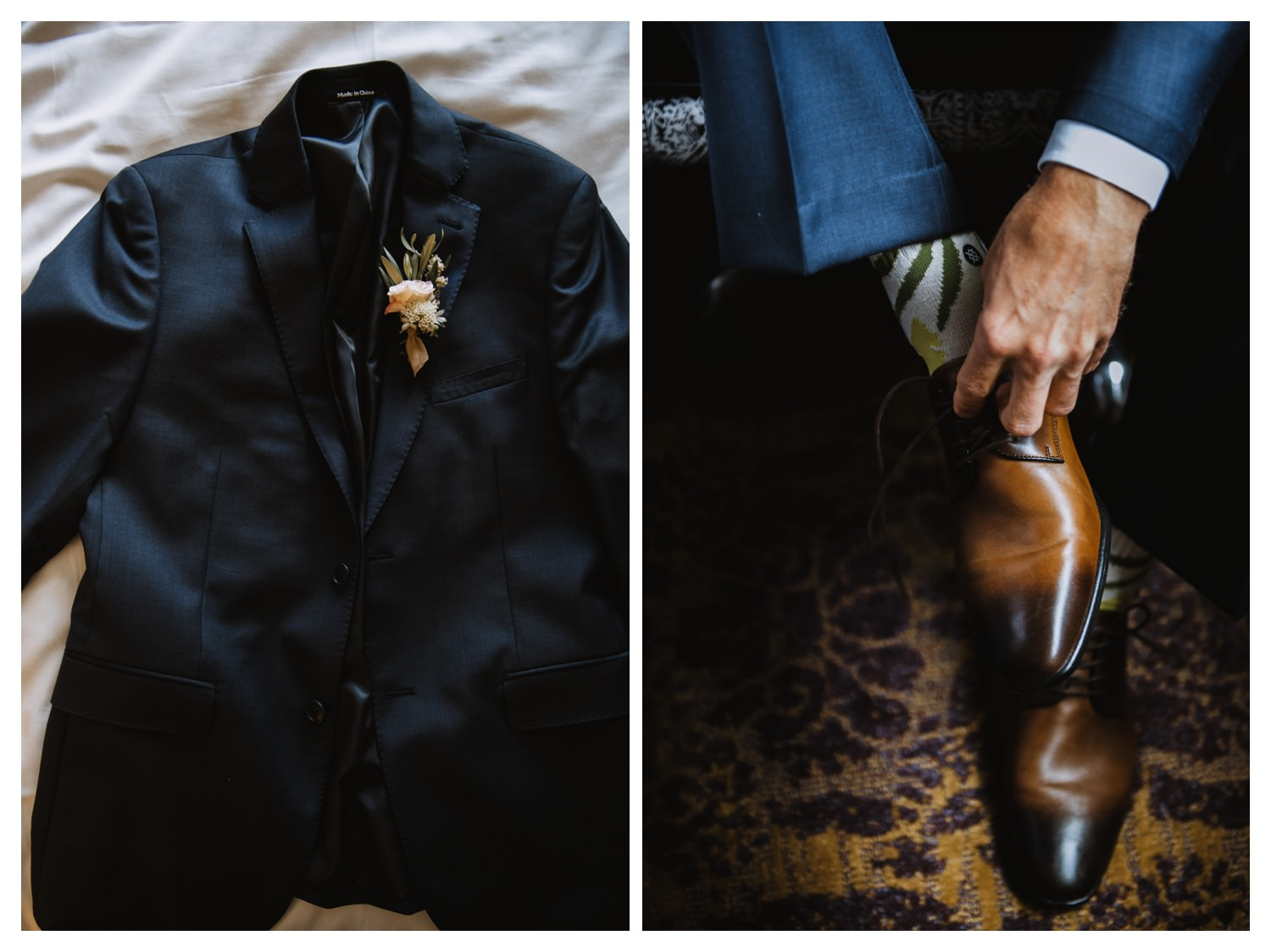 A grooms blue suit laid out on a wedding day