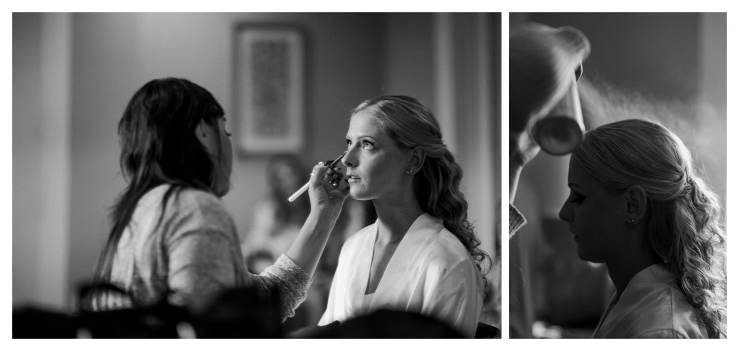 A bride getting her make applied