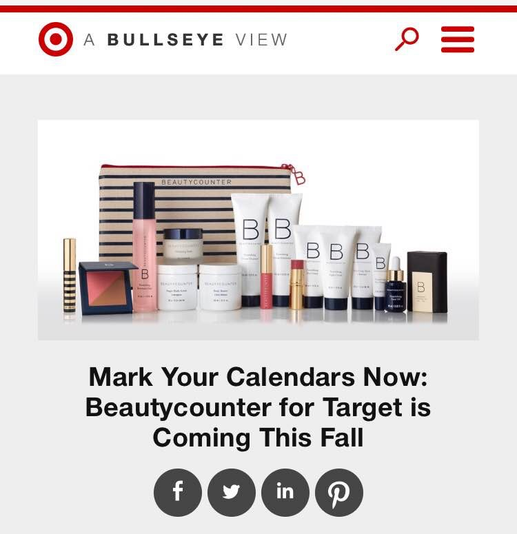 Target will launch a Pop-Up of Beautycounter products in the fall for up to 9 weeks or till supplies last.This is gain so much exposure and awareness to our company!